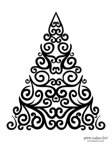 Fancy abstract Xmas tree printable decoration (2)