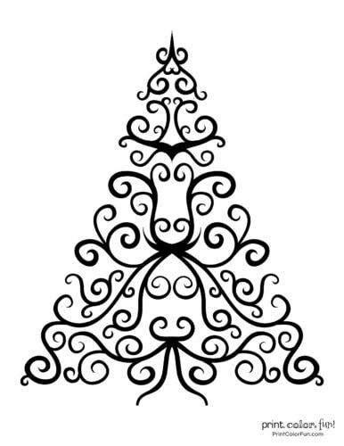 Fancy abstract Xmas tree printable decoration (3)