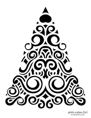 Fancy abstract Xmas tree printable decoration with swirl patterns