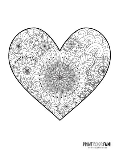 Fancy detailed floral pattern inside a heart to color