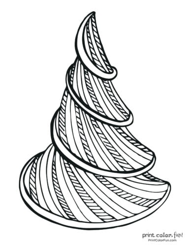 Fancy spiral Christmas tree coloring page