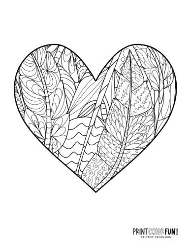 Feather pattern zen doodle heart coloring