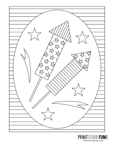 Firework rockets - Printable coloring page