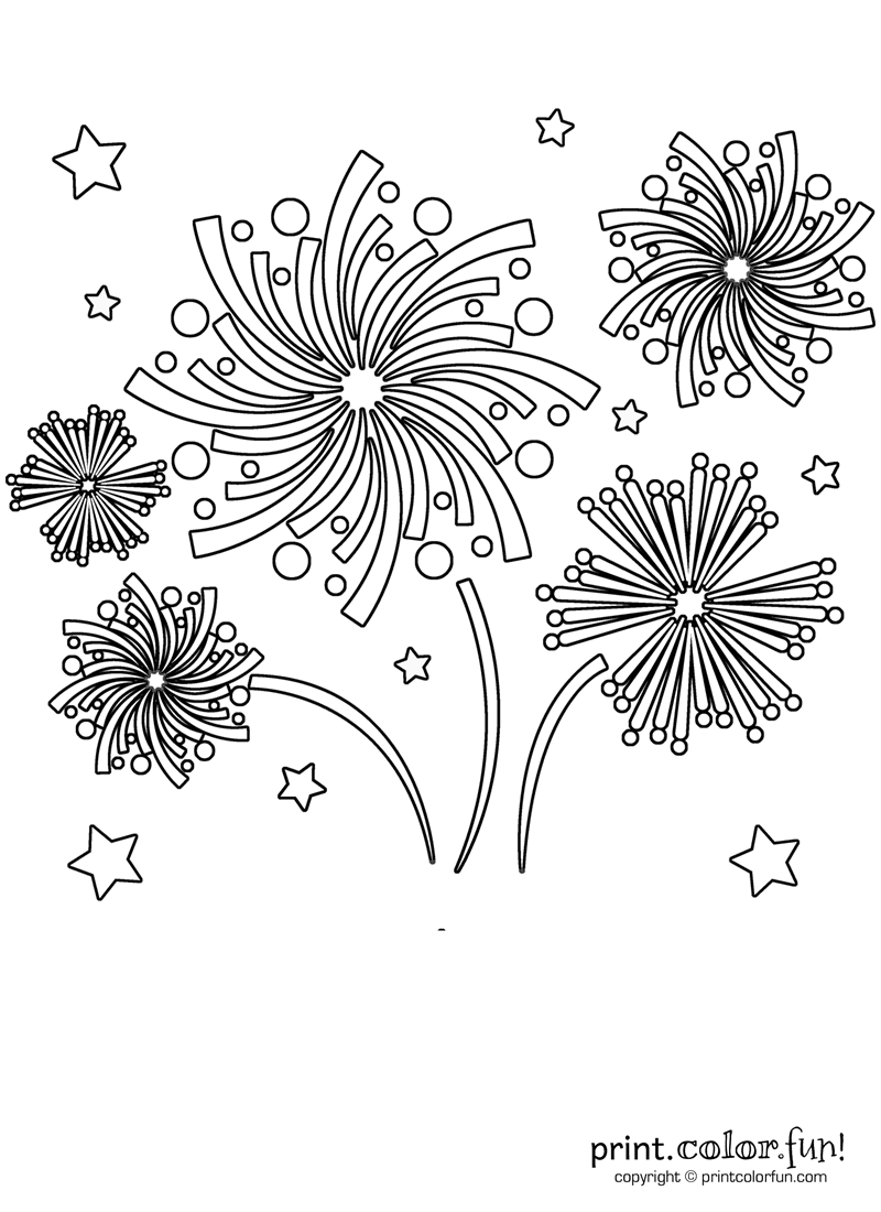 Fireworks In The Sky Coloring Page Print Color Fun