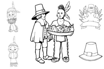 First Thanksgiving coloring pages, with pilgrims and Native Americans