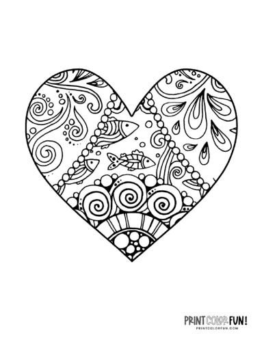 Fish zen doodle heart coloring page