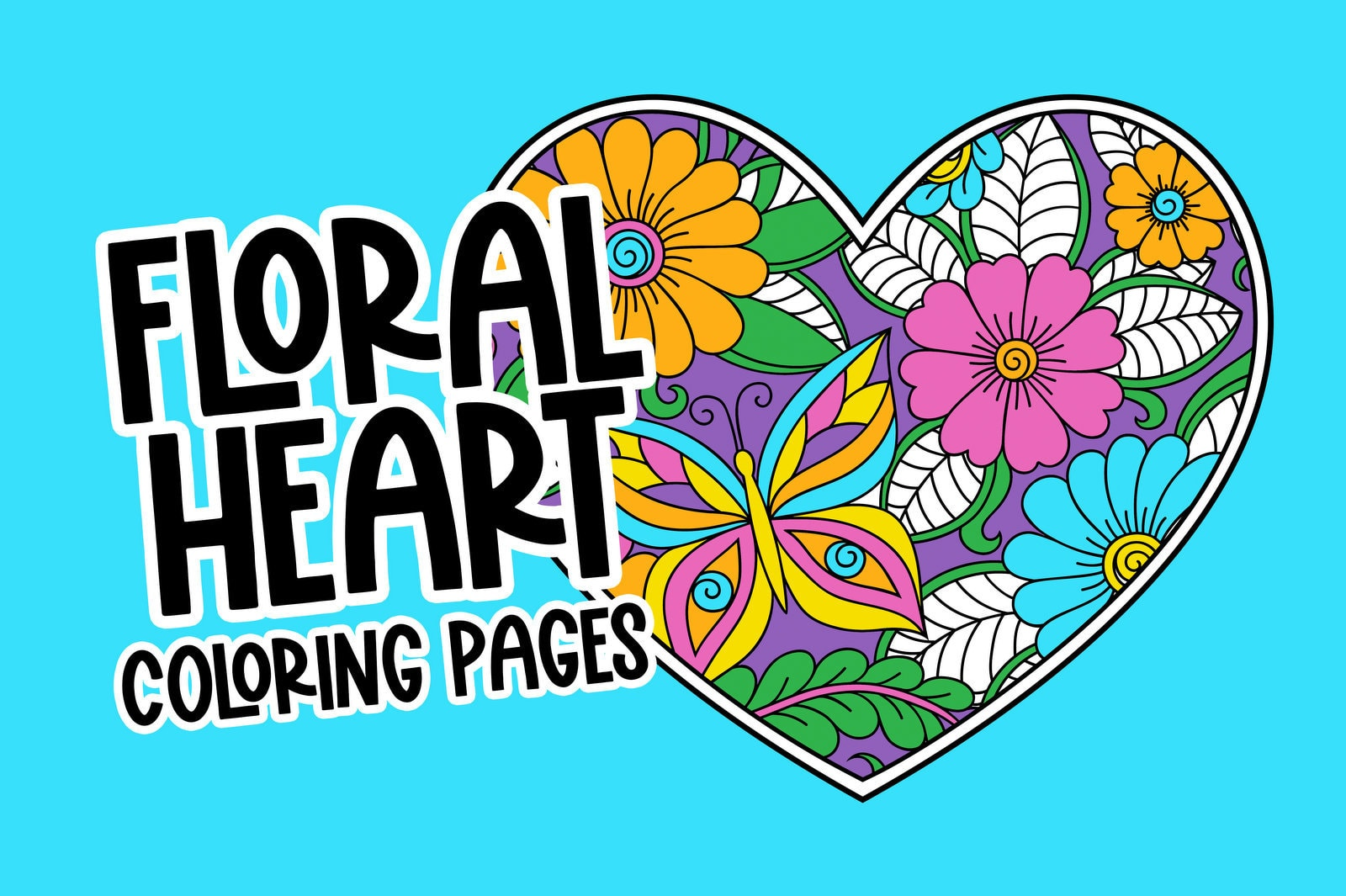 Floral heart coloring pages