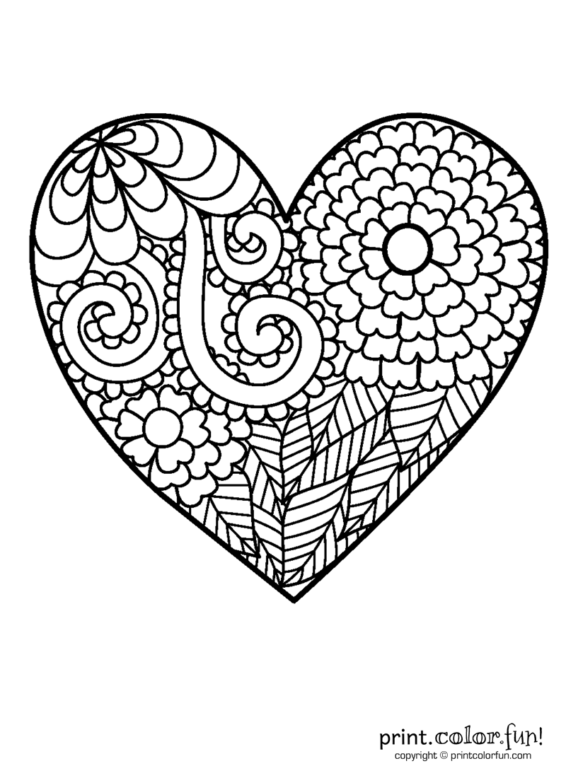 Flowery heart coloring coloring page Print Color Fun