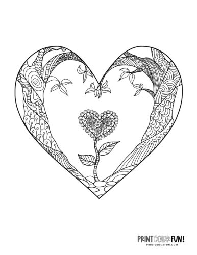 Flowery heart design coloring page (1)