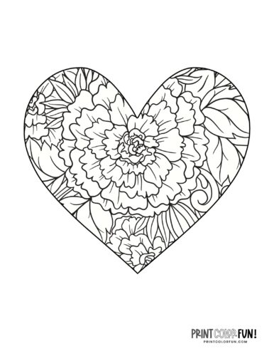 Printable floral heart coloring pages