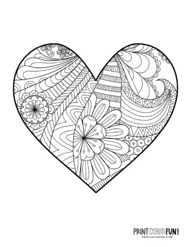 Free floral heart coloring pages