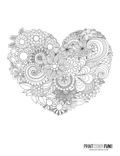 Flowery heart design coloring page (4)