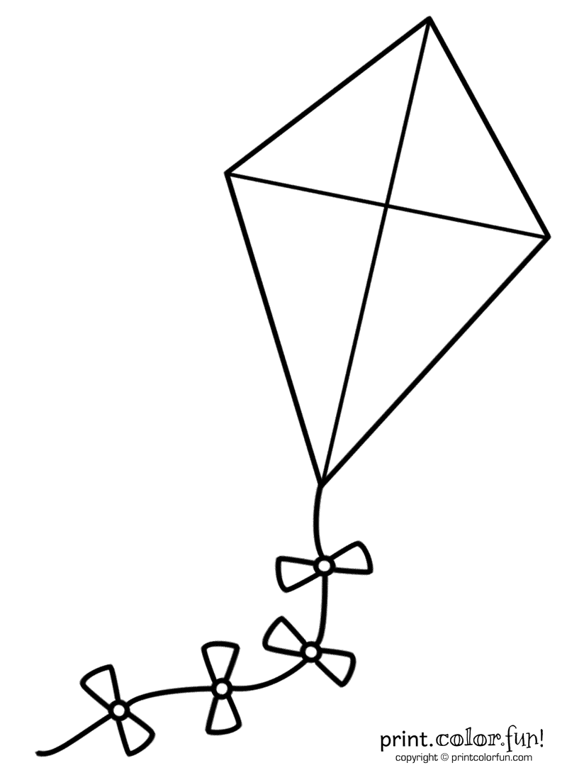 Big kite coloring page Print