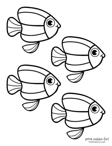 Four cute fish coloring printable from PrintColorFun com