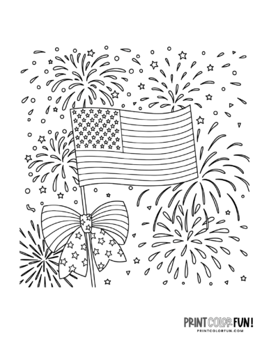 Fourth of July fireworks with flag coloring page