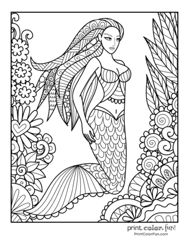 30 Mermaid Coloring Pages Free Fantasy Printables Print Color Fun