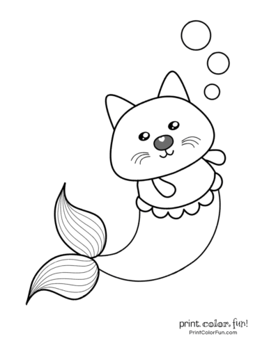 Mer-kitty/mermaid cat coloring page