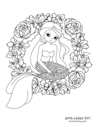 Mermaid and wreath coloring book page