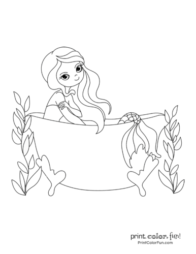 Mermaid in a bathtub coloring pages
