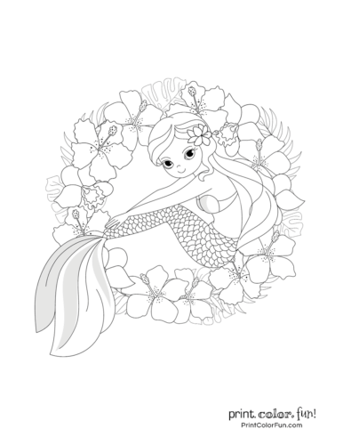 Smiling mermaid with hibiscus flowers