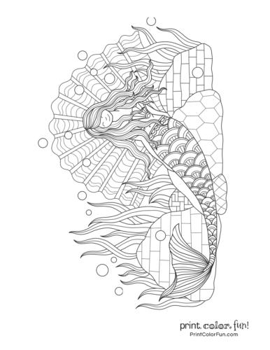 Beautiful printable mermaid with long flowing hair