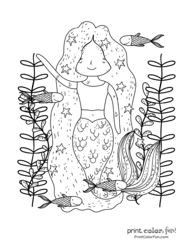 Helpful mermaid girl in the ocean