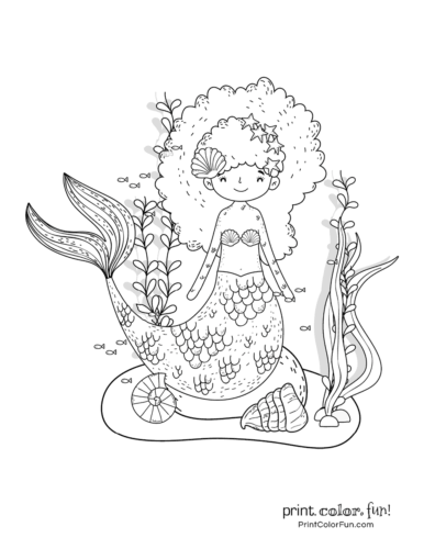 Cute mermaid coloring pages for kids