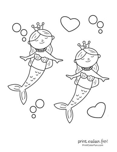 Free mermaid coloring pages to print