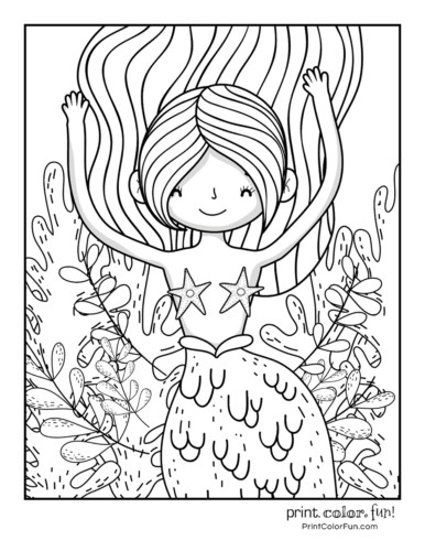 Adorable mermaid coloring page