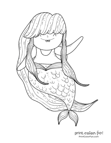 Mermaid with long hair