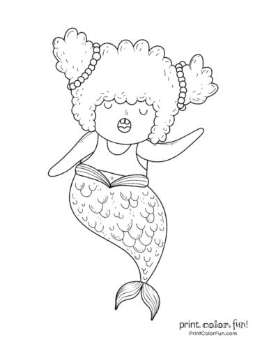 Singing mermaid coloring printable