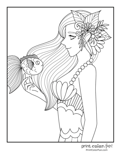 Smart mermaid with a fish friend