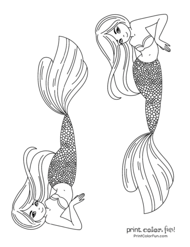 Two mermaid sisters to color in