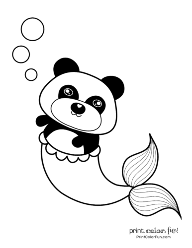 Printable panda-mermaid coloring page