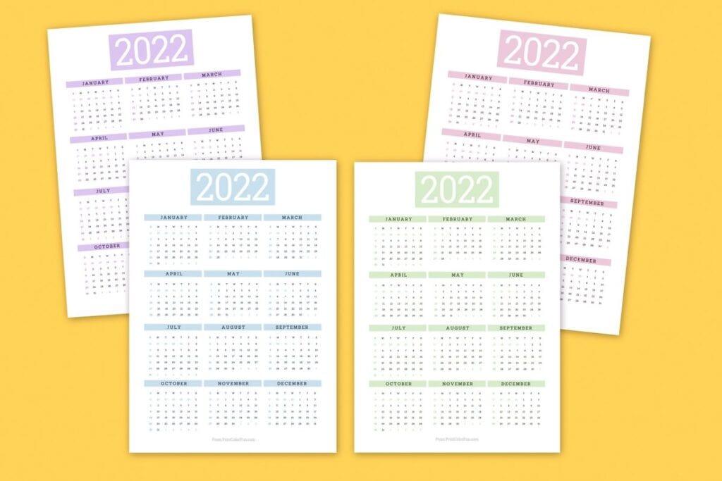 Free printable calendars for 2022