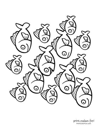 Free school of fish coloring printable page from PrintColorFun com (3)