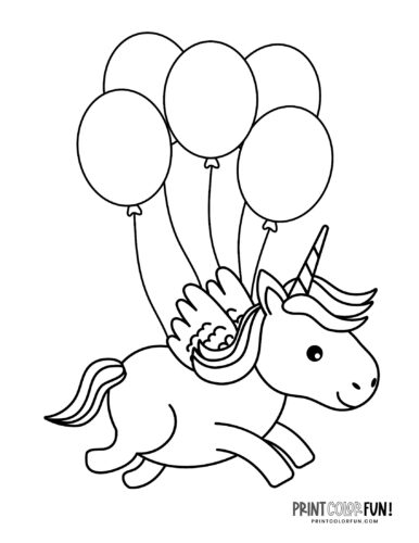 Free unicorn with balloons coloring page