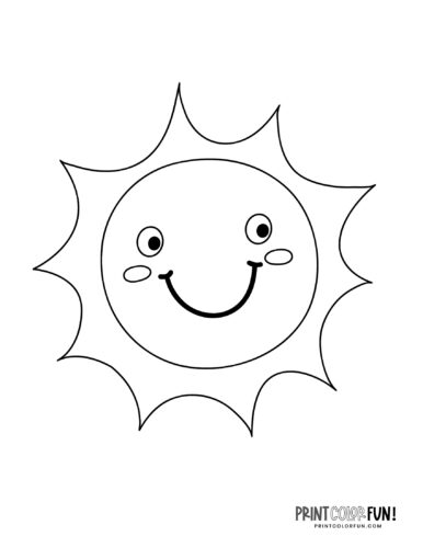 Fun sun coloring pages - Cute faces (1)