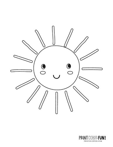 Fun sun coloring pages - Cute faces (3)