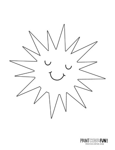Fun sun coloring pages - Cute faces (4)