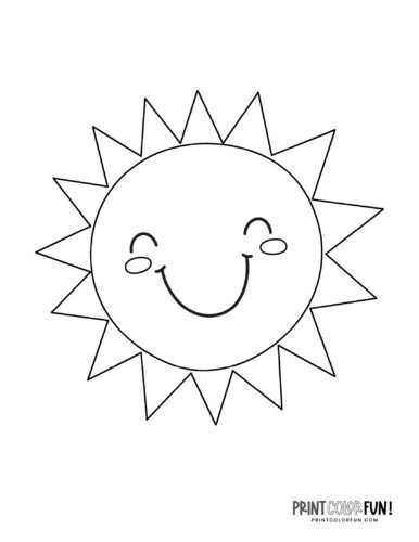 Fun sun coloring pages - Cute faces (5)