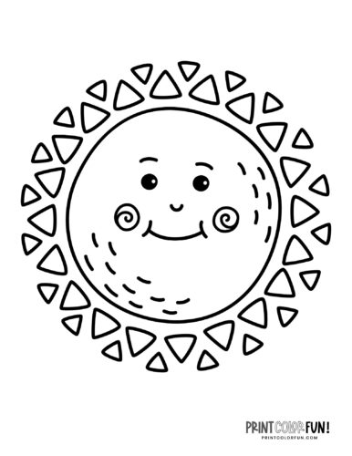 Fun sun coloring pages - Silly faces (2)