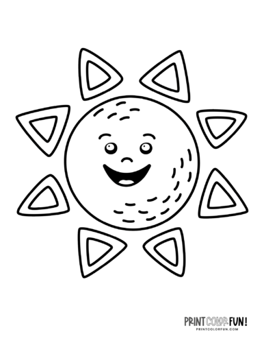 Fun sun coloring pages - Silly faces (3)