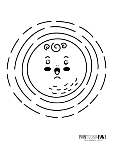 Fun sun coloring pages - Silly faces (4)