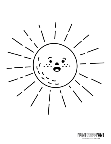 Fun sun coloring pages - Silly faces (7)
