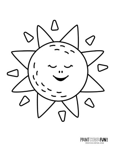 Fun sun coloring pages - Silly faces (9)