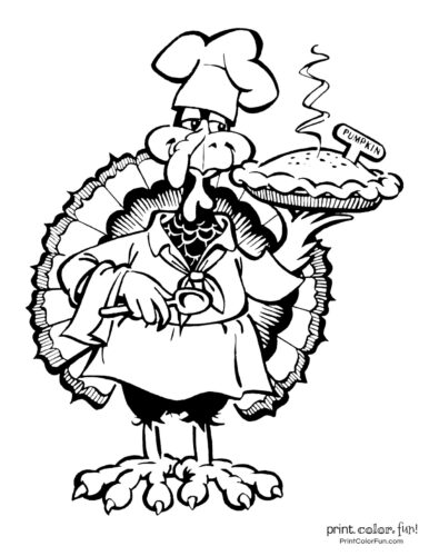 Funny cartoon Thanksgiving turkey with a pumpkin pie