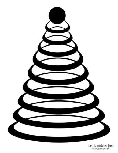 Geometric circle design Christmas tree printable