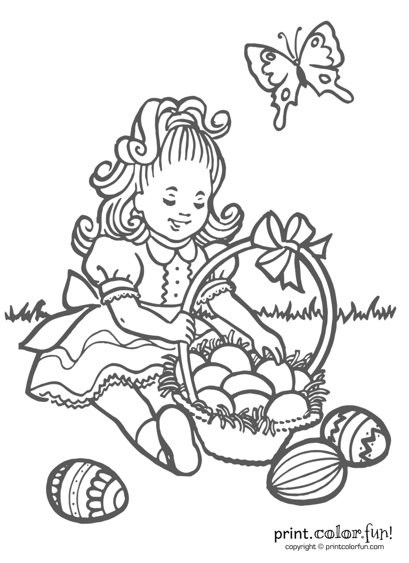 How Many Easter Eggs In Her Basket Coloring Page Print