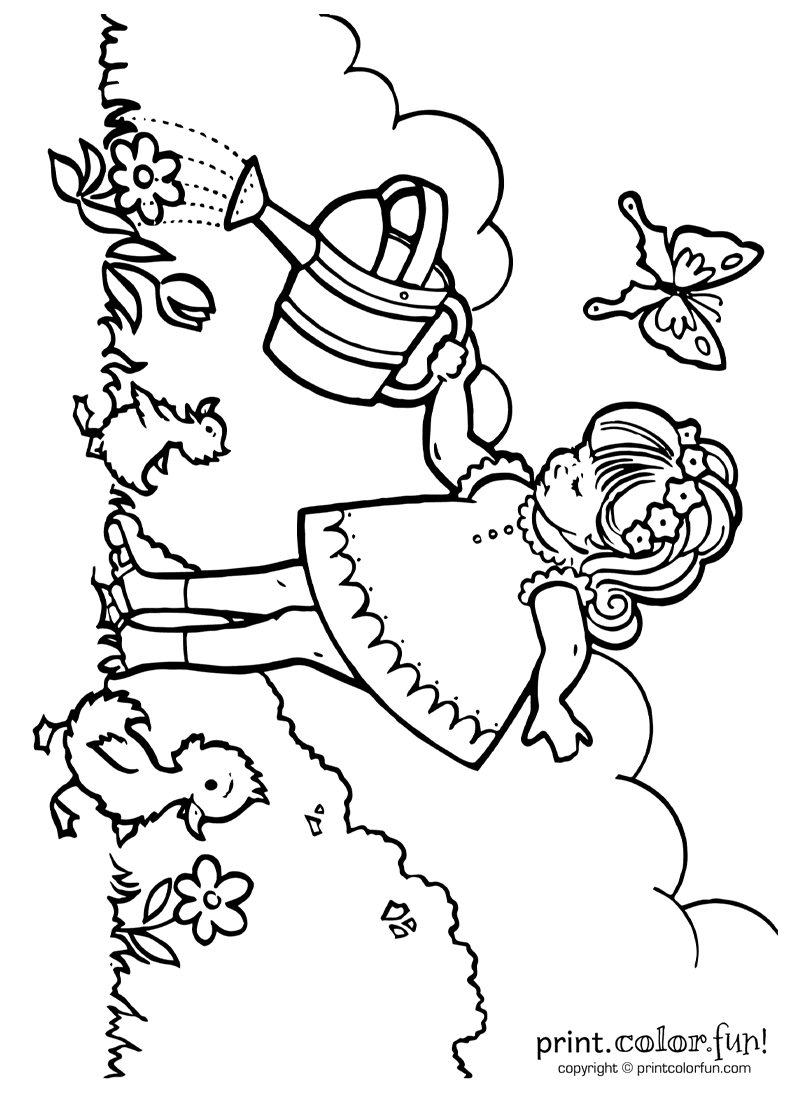 Little girl watering plants coloring page - Print. Color. Fun!